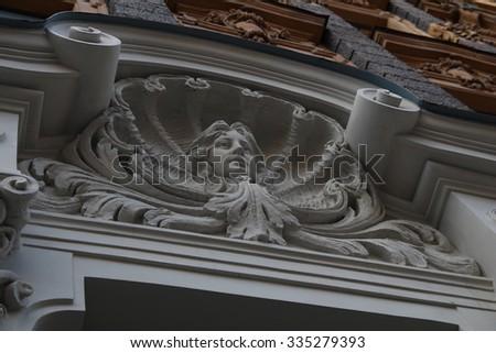 Details of Art Nouveau buildings - stock photo