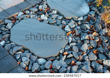 Details of beautiful stone pavement in a garden                                - stock photo