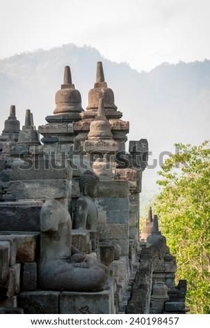 Details of Borobudur temple Yogyakarta, Indonesia - stock photo