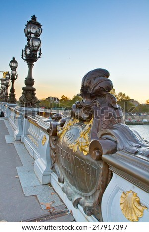 details of Bridge  of Alexandre III at sunset in Paris, France - stock photo