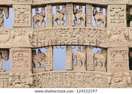 Details of Carved decoration of the Northern gateway to the Great Stupa of Sanchi. - stock photo
