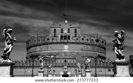 details of Castel Sant' Angelo in Rome, Italy  - stock photo
