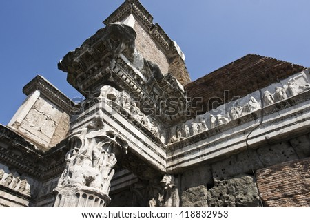 Details of church from Roman time - stock photo