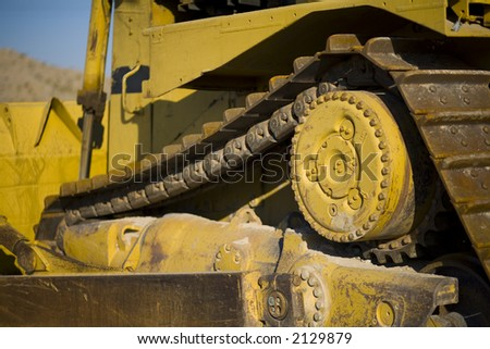 Details of construction dozer - stock photo