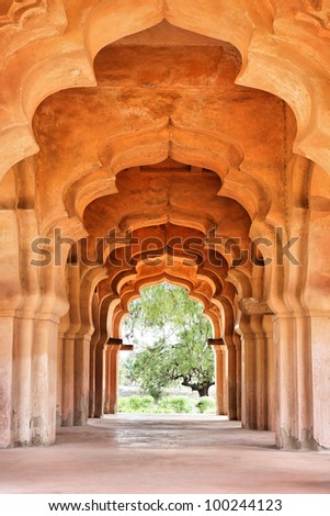 Details of design of royal Lotus Mahal, Queens' Palace, Hampi, Karnataka, India - stock photo