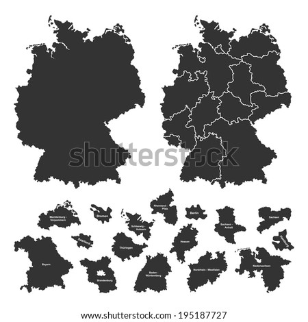 Details of german map with region borders on white background - stock photo