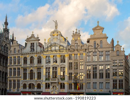details of Giuldhalls facades Grand Place Town Square, Brusseles, Belgium - stock photo