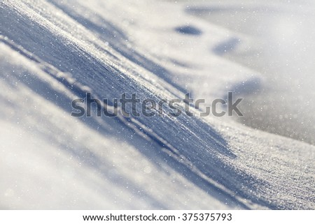 Details of glittering snow in Winter - stock photo