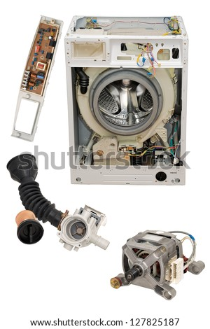 Details of household automatic washing machine, isolated on white background. - stock photo