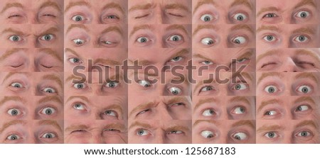 Details of large eyes expressions in closeup - stock photo
