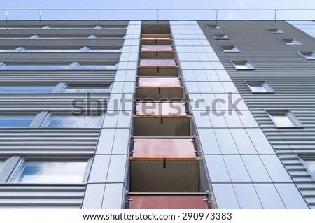 Details of modern business building facade - stock photo