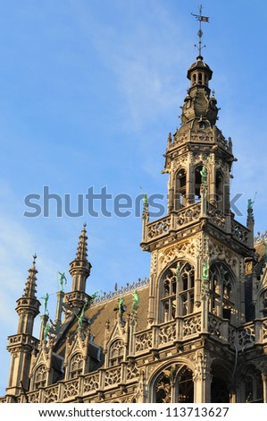 Details of neogothic facade of historical building on Grand Place in Brussels, Belgium in sunny day - stock photo