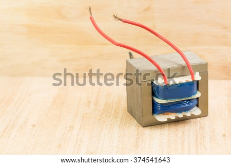 details of new low voltage power transformer - stock photo
