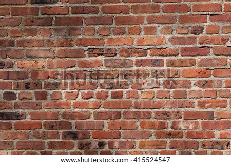 Details of old, weathered brickwork in a brick wall. Image would work as a background or wallpaper. - stock photo
