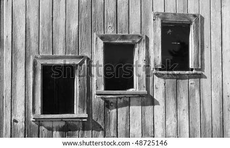 Details of panel windows in a sliding door - stock photo
