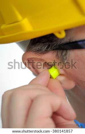details of protective ear plugs - stock photo