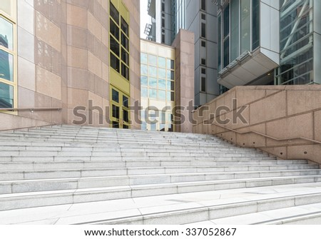 details of railing and stairs of a modern building - stock photo