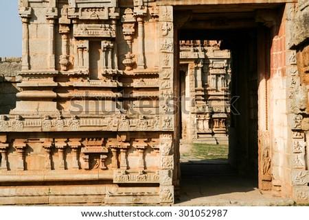 Details of ruin temple in hampi - stock photo