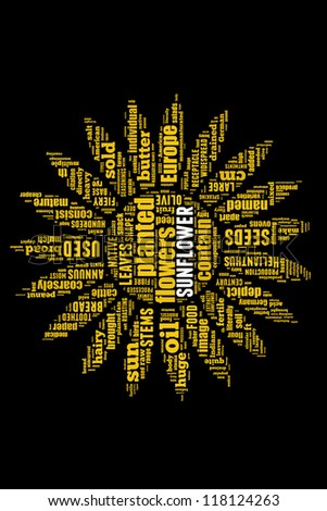 Details of sunflower in word collage - stock photo