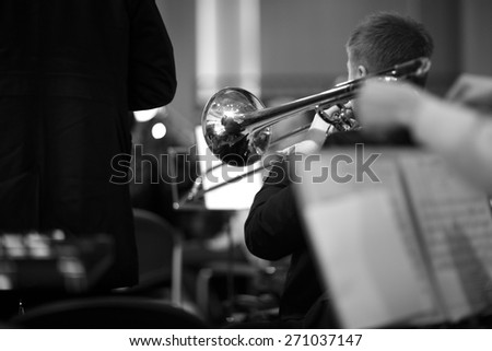 Details of Symphony Orchestra performance - stock photo