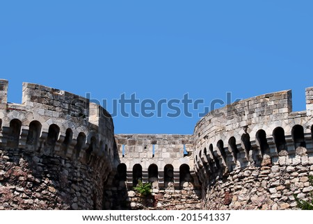 Details of the Belgrade fortress opposite blue sky - stock photo