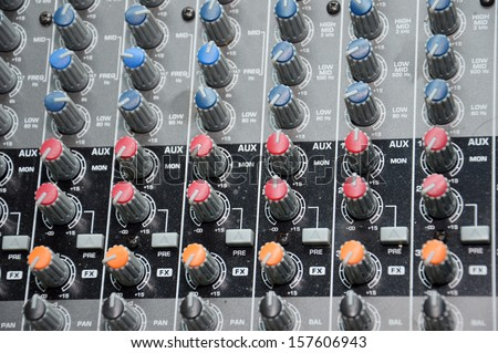 details of the control board sound mixer - stock photo