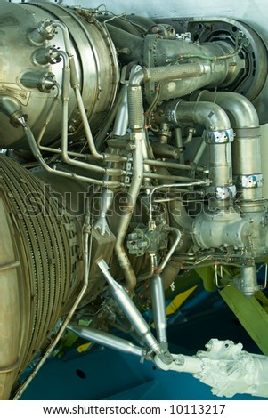 Details of the end of huge space rockets showing all intrincate details of this amazing engine - stock photo