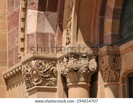 Details of the exterior of the Basilica of Saint Francis, in Santa Fe, New Mexico. (property release not required, I asked) - stock photo