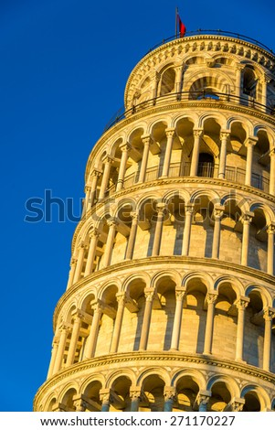 Details of the Leaning Tower of Pisa - Italy - stock photo