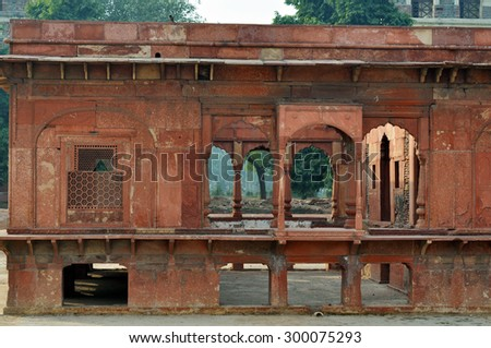 Details of the red fort in Delhi - India - stock photo