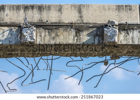 Details of the structure partially demolished a bridge in Barcelona - stock photo