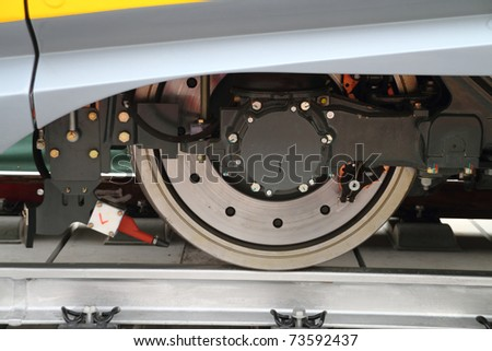Details of the  wheel of a modern train - stock photo