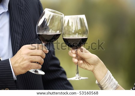 Details of two glasses of wine - stock photo