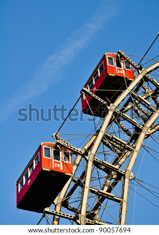 "details of vienna's giant ferris wheel, the ""riesenrad"" - stock photo"