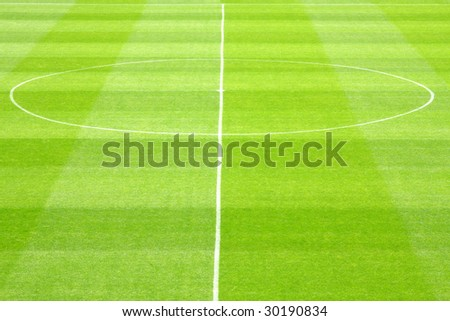 details shot of lines on football field - stock photo