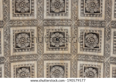 Details the Arc de Triomphe - Paris, France. - stock photo