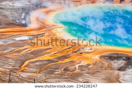 Detals of Colorful Geothermal Pool - stock photo