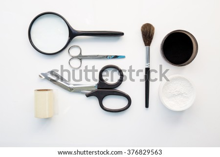detection of latent fingerprint  tool in crime scene isolated on white background - stock photo