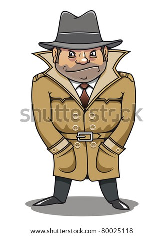 Detective agent or spy man for security or police concept design. Vector version also available in gallery - stock photo