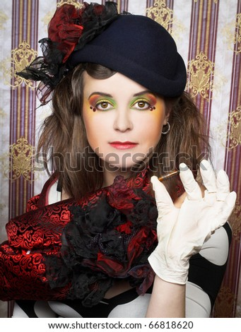 Detective. Charming lady in creative image. - stock photo