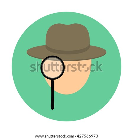 Detective icon isolated on green circle background  - stock photo