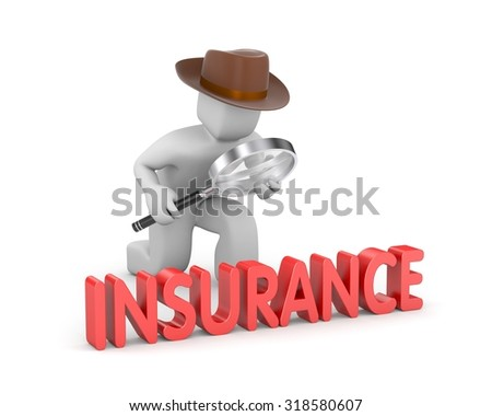 Detective inspected insurance - stock photo