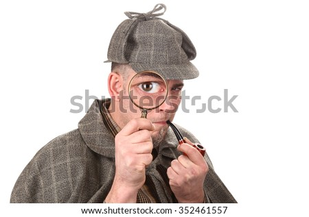 Detective investigate with magnifying glass big eye - stock photo