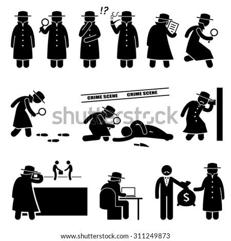 Detective Spy Private Investigator Stick Figure Pictogram Icons - stock photo