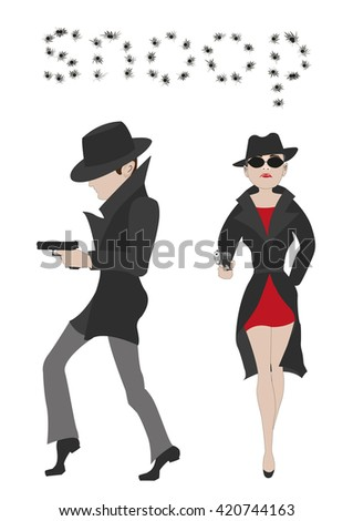 Detective Story. Illustration of an open detective book. Couple of secret agents. Spy couple over white background. Peope spying.  - stock photo