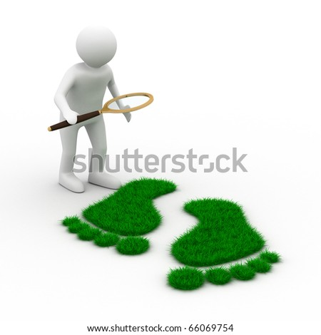 detective studies traces. Isolated 3D image on white - stock photo