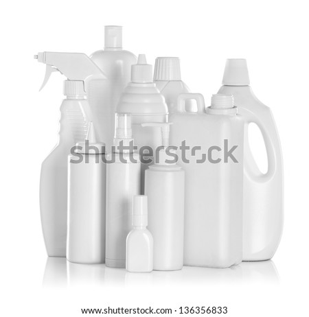 detergent bottles and chemical cleaning supplies isolated on white - stock photo