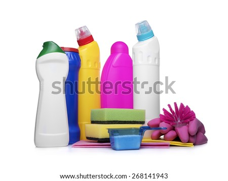 Detergent bottles and chemical cleaning supplies on white - stock photo