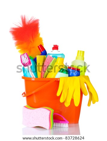 detergent bottles, brushes, gloves and sponges in bucket isolated on white - stock photo