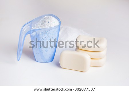 Detergent for a laundry washer and soap. - stock photo